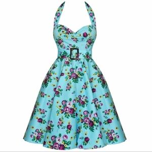 Hellbunny Vixen Blue Floral Swing Dress